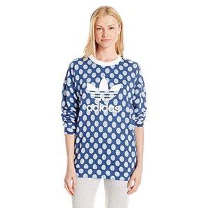 Adidas Polka Dot Blue Sweatshirt Top XS